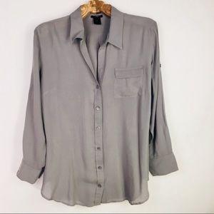 Grey Roll Tab Sleeve Button Front Blouse Sz Medium